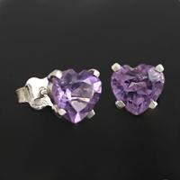 Boucles Améthyste facetée & Argent, puces forme Coeurs 6mm de côtés