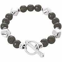 Bracelet onyx & argent rhôdié,  longueur 18cm