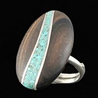 Bague Turquoise, Bois & Argent, mosaïque, taille 55