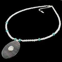 Collier pierre de lune, nacre, turquoise & argent, réglable de 40 à 45cm