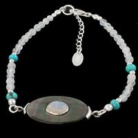 Bracelet pierre de lune, nacre, turquoise & argent, régl. de 18 à 22cm