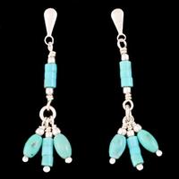 Boucles Turquoise & Argent, pampilles, mi-longues, haut. 3.3cm
