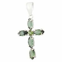 Pendentif croix tourmaline verte & argent 925, hauteur 3cm, photo contractuelle.
