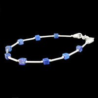 Bracelet Lapis-Lazuli & Argent, cubes de pierres, long. 17cm