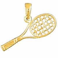 Pendentif raquette de tennis en plaqué or, longueur 2.7cm