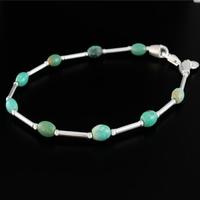 Bracelet Turquoise & Argent, petites formes olives, longueur 19cm