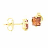 Boucles Grenat Rhodolite & plaqué Or, puces forme carrée,  pierre 4mm