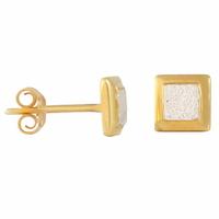 Boucles plaqué or & argent 925, carrés 7x7mm