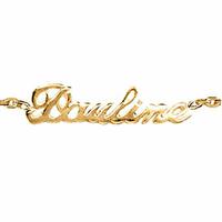Bracelet prénom découpé plaqué or, chaîne forçat 2mm, réglable de 17 à 18.5cm