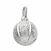 Pendentif basket, ballon argent 925 rhôdié, diam. 1cm, hauteur 1.8cm