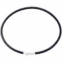 Cordon cuir tressé noir 5mm & acier - 50cm