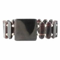 Bracelet nacre marron & argent 925, hauteur 2.3cm et 2cm, photo contractuelle.