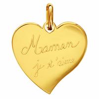 """Pendentif coeur plaqué or """"Maman je t'aime"""", option gravure au verso, haut. 2.5cm"""