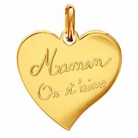 """Pendentif coeur plaqué or """"Maman on t'aime"""", personnalisable au verso, haut. 2.5cm"""