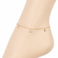 Chaîne de cheville 6 Coeurs en pampillles - 22-24cm, plaqué or