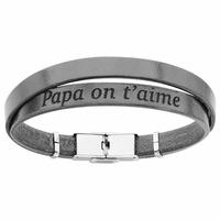 Bracelet papa on t'aime cuir noir double, régl. jusque 20cm