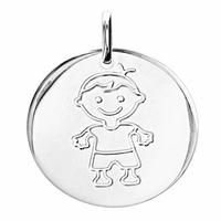 Médaille garçon argent 925, diamètre 1.5cm, hauteur 1.7cm, option gravure