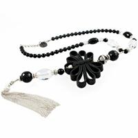 Collier onyx, cristal de roche & argent 925, Sautoir réglable jusque 60cm