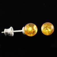 Boucles Ambre miel & Argent, boules 6mm