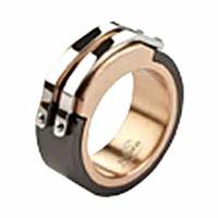 Bague acier noir & acier couleur cuivre, bandes blanches, T. 58 au 66