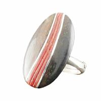 Bague Corail, Bois & Argent, cabochon ovale, réglable du 52 au 54 et du 55 au 57