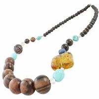 Collier ambre, bois, turquoise, lapis-lazuli & argent 925, Sautoir 87cm. Photo contractuelle.