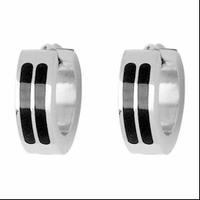 Boucles demi-créoles acier bicolore, vendues par paire ou à l'unité