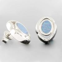 Boucles Opale bleue & argent 925 rhôdié, hauteur 1.4cm