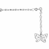 Chaîne de cheville argent, papillon diamanté, régl. de 22 à 25cm, option rhôdié