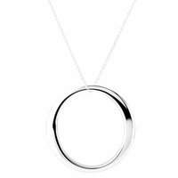 Collier grand cercle à bord large en argent 925, longueur de la chaîne au choix (40 à 65cm)