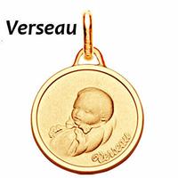 Médaille zodiaque Verseau, Bébé en plaqué Or, haut. 2.3cm, option gravure au verso