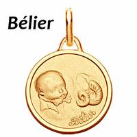 Médaille zodiaque Bélier, Bébé en plaqué Or, haut. 2.3cm, option gravure au verso