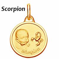 Médaille Scorpion plaqué Or, haut. 2.3cm + gravure