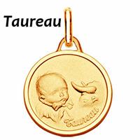 Médaille zodiaque Taureau, Bébé en plaqué Or, haut. 2.3cm, option gravure au verso