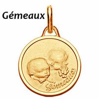 Médaille zodiaque gémeaux en plaqué Or, 1.6cm, haut. totale 2.3cm, option gravure au verso