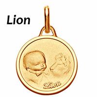 Médaille Lion plaqué Or, haut. 2.3cm + gravure