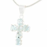 Pendentif croix aigue marine & argent 925, hauteur 2.4cm