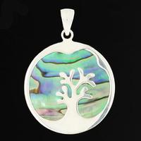 Pendentif arbre de vie nacre paua ou abalone & argent, diam. 3cm, hauteur 4cm