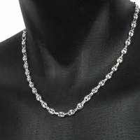 Collier grains de café 8x10mm argent 925 (25 à 36g), long. 45, 50, 55 et 60cm