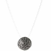 Collier argent  925 rhôdié & oxydes noirs, demi-boule, réglable à 40 et 42cm.