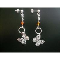 Boucles ambre & argent 925, papillons, long. 7cm