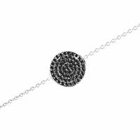Bracelet argent 925 & oxydes noirs, réglable de 16 à 18cm