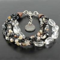 Bracelet cristal de roche, onyx, agate & argent 925, poignet de 16.5 à 18.5cm