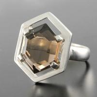 Bague quartz fumé & argent, forme octogonale, T. 56