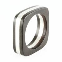 Bague bois & argent, anneau carré, T. 62