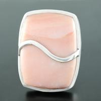 Bague opale rose & argent, pièce unique, taille 54.5, photo contractuelle