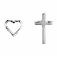 Boucles coeur & croix en argent, puces en duo, haut. 8 et 9mm