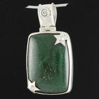 Pendentif aventurine, pyrite & argent 925, hauteur 4.3cm
