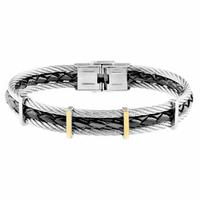 Bracelet câbles acier, cuir noir & plaqué or 18K - 21cm
