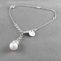Bracelet perle de majorque & argent 925 rhôdié, 16 à 19cm